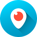 Social, long shadow, Circle, social media, Periscope, media, Gradient DeepSkyBlue icon