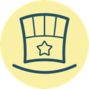 Top, hat, festive, hat with star, tophat, fourth of july, Fest PaleGoldenrod icon
