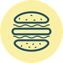 meal, Fast food, junk food, Burger, hamburger, Eat, Buns PaleGoldenrod icon