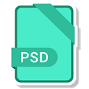 Psd, Extension, paper, File, Format Turquoise icon