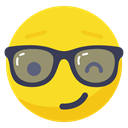 Glasses, smiley, Fun, Playful, smile, wink, Boss Gold icon