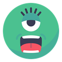 Eye, Alien, friend, smile, Face, smiley, Ufo MediumSeaGreen icon