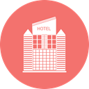 hotel, Home, Building, city Salmon icon