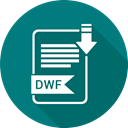 File, file format, dwf, Extensiom Teal icon