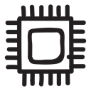 Computer, Device, Chip, microchip, processor, Cpu, frequency Black icon