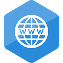 website, Hexagon, High Quality, social media, Social, Colored, www DodgerBlue icon