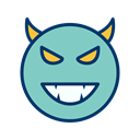 Face, smiley, Emoticon, Devil MediumAquamarine icon