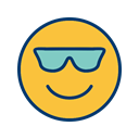 Face, smiley, cool, Emoticon SandyBrown icon