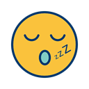 Face, smiley, Emoticon, sleep SandyBrown icon