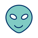 Face, smiley, Emoticon, Alien MediumAquamarine icon