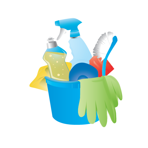 Cleaning Bucket Janitor Rubber Gloves Icon