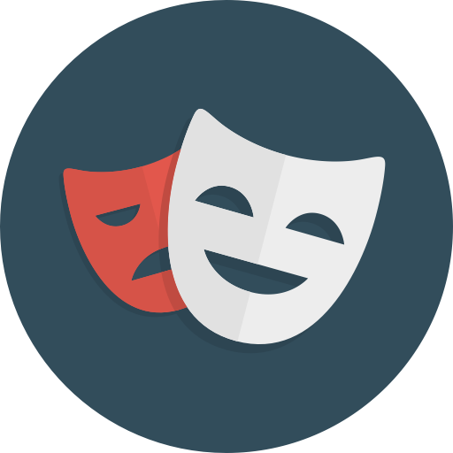 comedy happy theatre masks drama sad icon