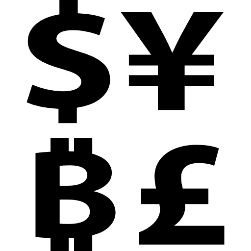 Dollars Money Bitcoins Pounds Bitcoin Commerce Currencies Yens Currency Symbols Icon
