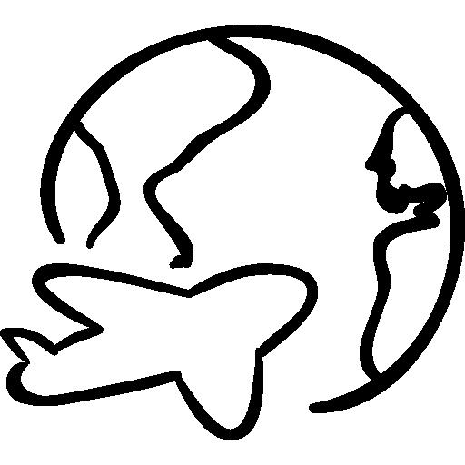 Hand Drawn Planet International Airplane Globe