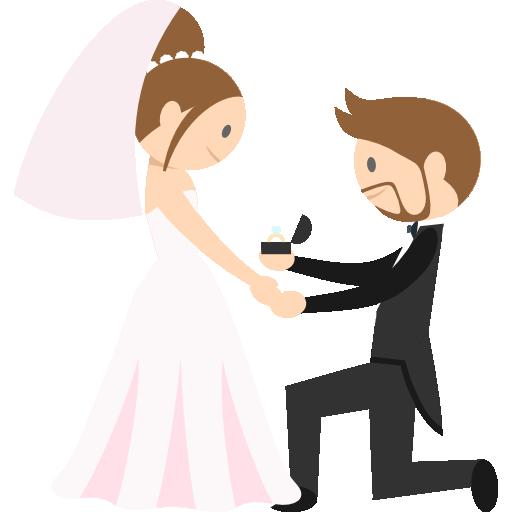 Bride Romantic Groom Wedding Couple People Icon