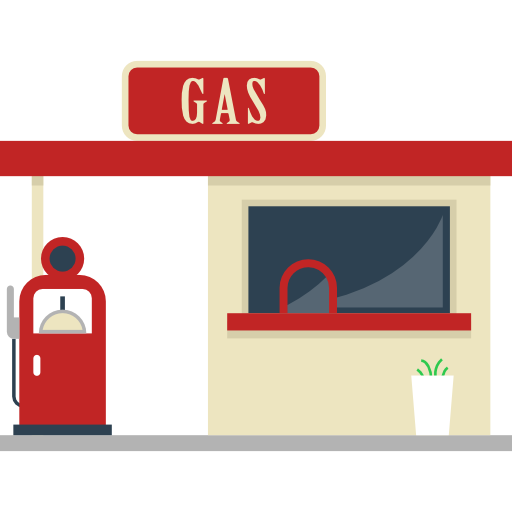 Architecture And City Energy Petrol Gas Station Gasoline Fuel Buildings Icon