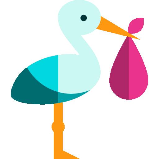 people newborn stork birth baby kid and baby animals bird icon