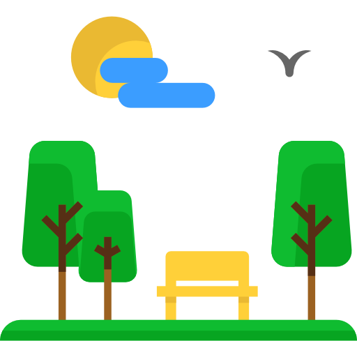 Urban Bench Trees Seat Comfortable Nature Park Icon