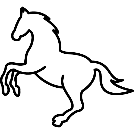 Jump Outline Animals White Outlined Jumping Horses