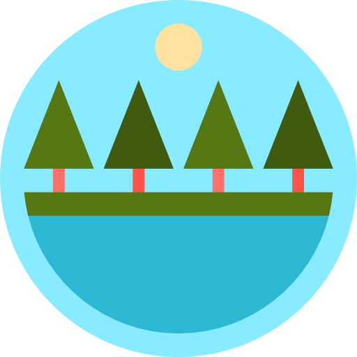 Rural, Pines, Lake, Peaks, Nature, Landscape, Trees Icon