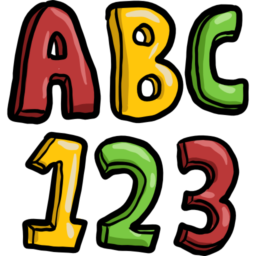 Abc, numbers, education, learning icon