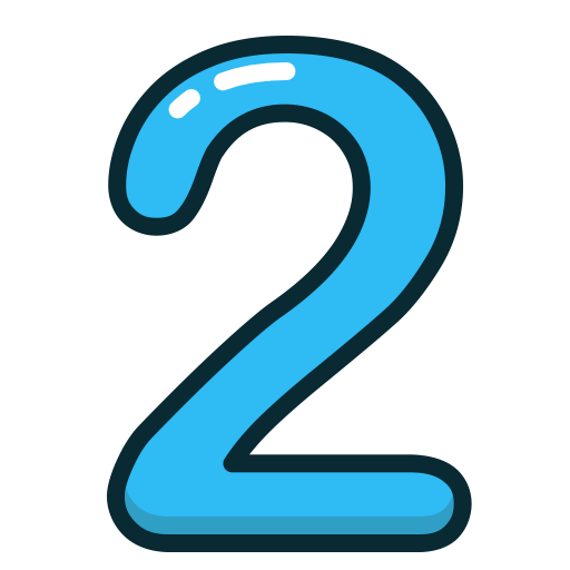 numbers, number, two, study, Blue icon