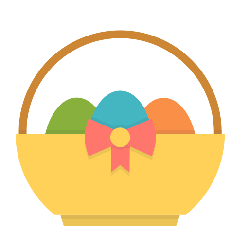 Egg gift present basket spring easter eggs icon negle Images