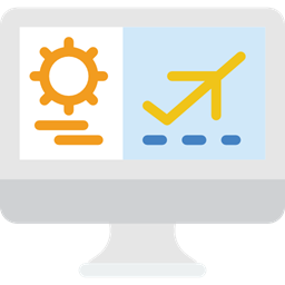 Booking Flight Computer Monitor Screen Icon