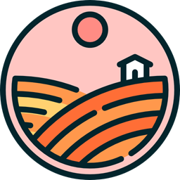 Country Farm Rural Hills House Nature Fields Icon