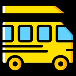 Automobile Public Transport Transportation Transport Vehicle Bus School Bus Icon