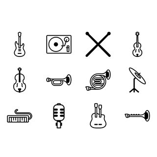 Musical instruments icon packages