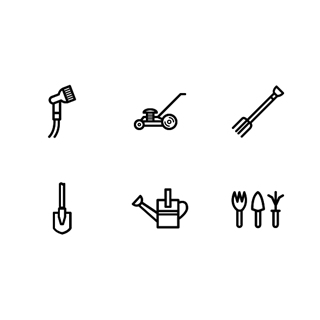 Gardening tools icon packages