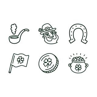 St Patrick's Day Hand Drawn Outline icon packages