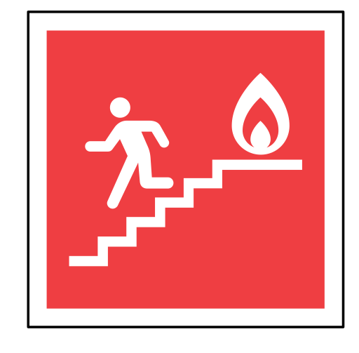 fire exit sign emergency stairs code sos icon