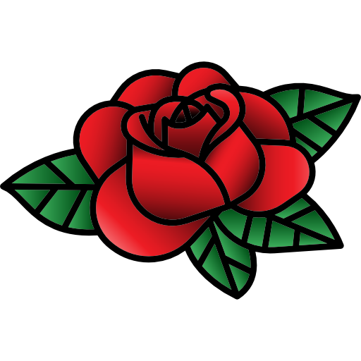 vintage tattoo rose hipster nature old school icon