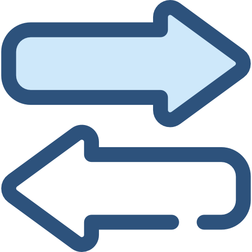 Right Left Interface Direction Transfer Bidirectional Arrows Icon