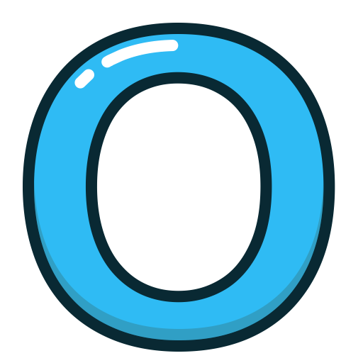 Blue, O, Letter, Alphabet, letters icon